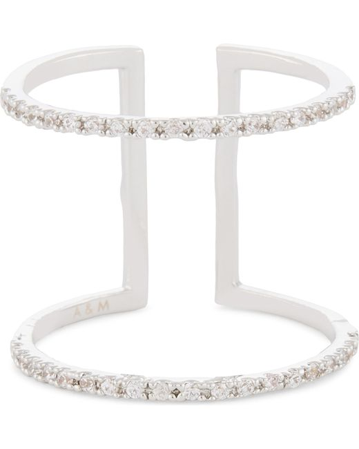 Astrid & Miyu - White Double Bewitched Rhodium Ring - Lyst