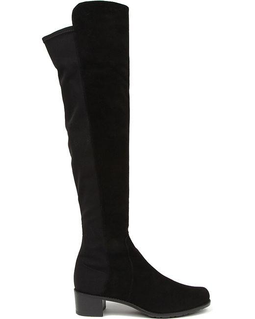 Stuart Weitzman | Black Reserve Stretch Suede Boots | Lyst