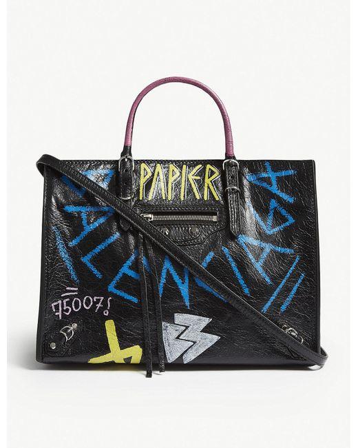Balenciaga - Multicolor Black And Blue Graffiti Print Paper Leather Tote Bag - Lyst