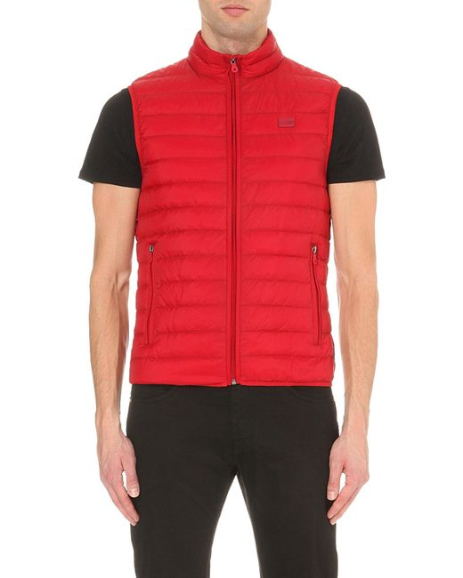 Armani Jeans | Red Quilted Shell Gilet for Men | Lyst