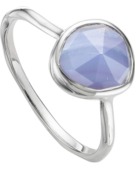 Monica Vinader - Metallic Siren Sterling Silver And Blue Lace Agate Medium Stacking Ring - Lyst