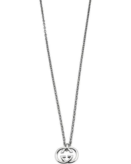 Gucci | Metallic Interlocking G Sterling Silver Pendant Necklace | Lyst