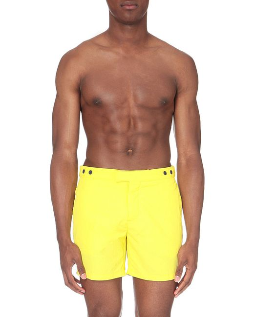 Frescobol carioca block colour tailored fit swim shorts in for Tailored fit shirts meaning