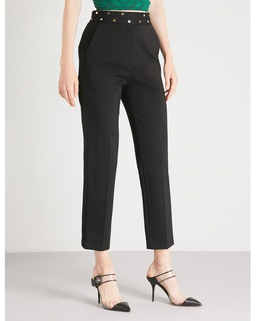Sandro - Black Straight High-rise Woven Trousers - Lyst