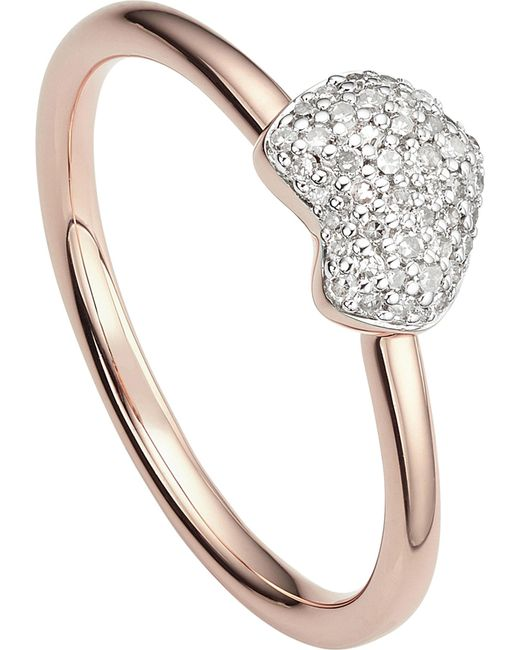 Monica Vinader - Metallic Nura 18ct Rose-gold Vermeil And Diamond Ring - Lyst