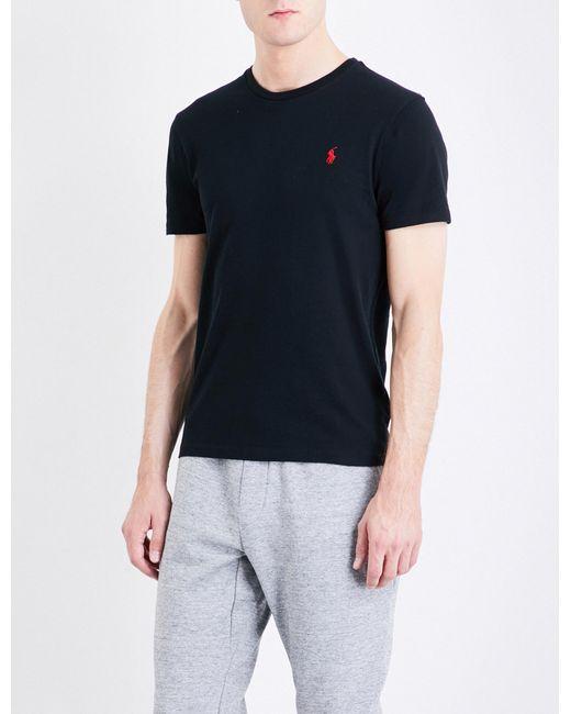 aaa391912d31d Polo Ralph Lauren - Black Logo-embroidered Custom Slim-fit Cotton-jersey T