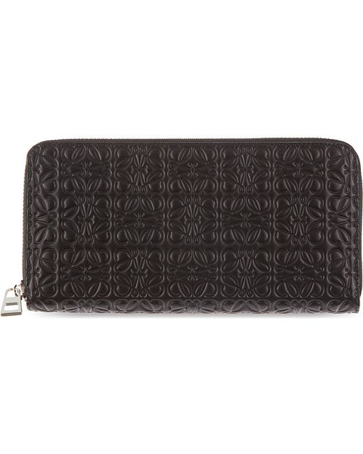 Loewe | Black Engraved Logo Zip-around Wallet | Lyst