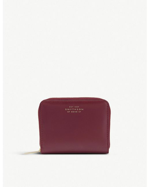 Smythson - Red Wigmore Leather Zip Coin Purse - Lyst
