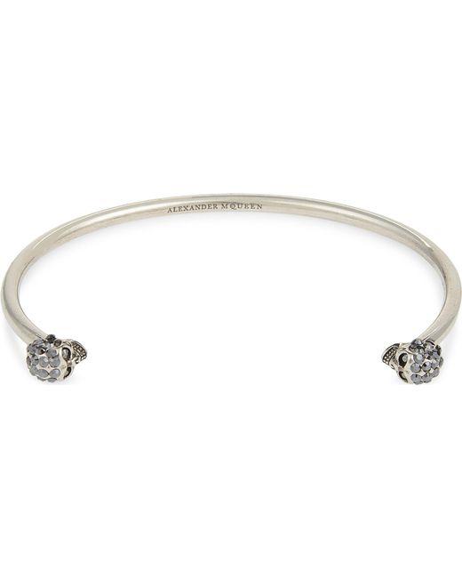 Alexander McQueen - Metallic Jewelled Twin Skull Bracelet - Lyst