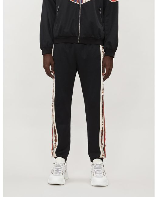 Gucci Black Side-stripe Satin And Stretch-jersey jogging Bottoms for men