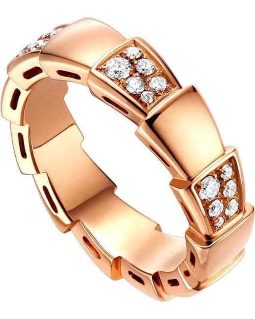 BVLGARI - Metallic Serpenti 18kt Rose-gold And Diamond Ring - Lyst