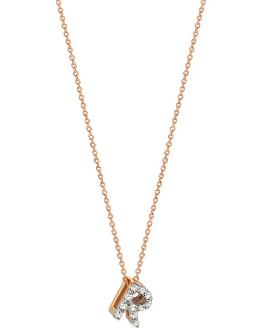 The Alkemistry   Metallic R Initial 14ct Rose Gold And Diamond Necklace   Lyst