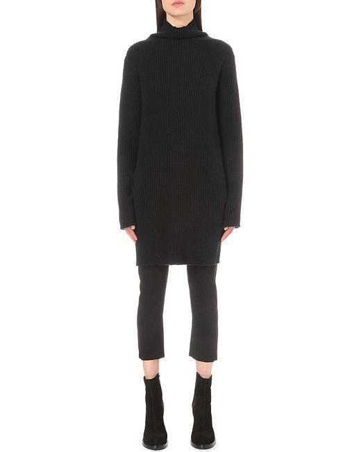 Ann Demeulemeester Cowl Neck Wool blend Knitted Dress In
