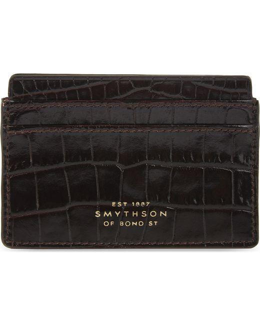 Smythson - Black Mara Crocodile-embossed Leather Card Holder - Lyst