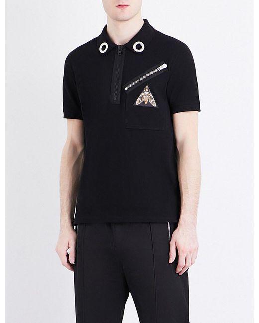 Givenchy eyelet collar cotton piqu polo shirt in black for Mens eyelet collar dress shirts