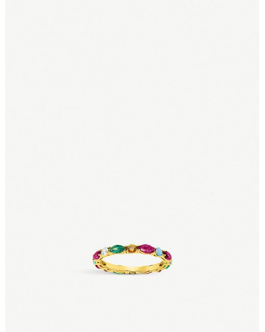 Thomas Sabo - Metallic Riviera 18ct Yellow-gold And Coloured Stone Infinity Ring - Lyst