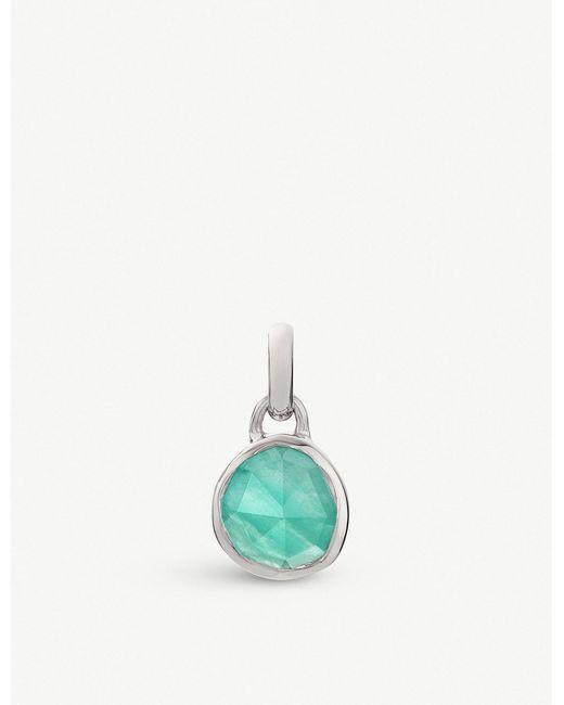 Monica Vinader - Green Siren Mini Sterling Silver And Amazonite Bezel Pendant - Lyst