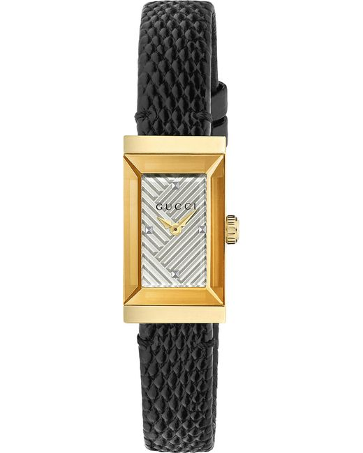 cd6c64f55da Gucci - Black Ya147507 G-frame Lizard-leather And Yellow-gold Pvd Watch