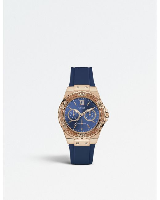 Guess - Blue W1053l1 Limelight Stainless Steel And Rubber Watch - Lyst
