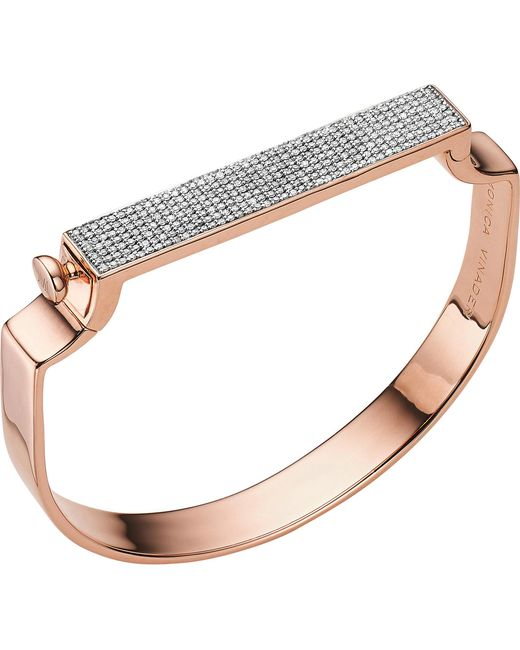 Monica Vinader - Red Signature Diamond And 18ct Rose Gold-plated Bangle - Lyst