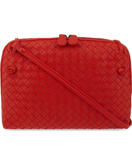 Bottega Veneta | Red Ciel Intrecciato Leather Small Cross-body Bag | Lyst