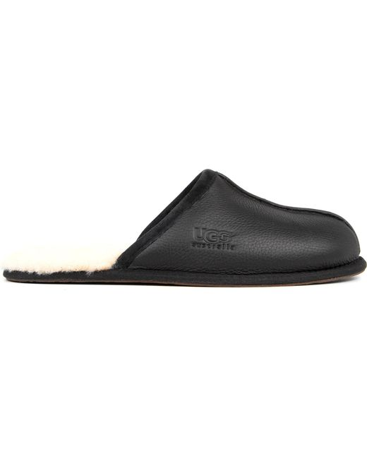 Ugg - Black Scuff Leather Slippers for Men - Lyst
