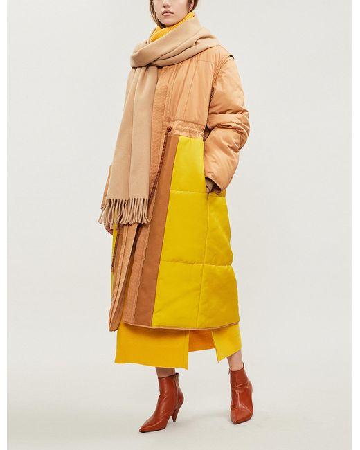 Roksanda - Yellow Asta Two-tone Cotton-blend Puffer Coat - Lyst