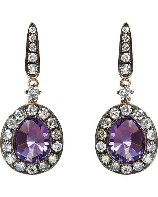 Annoushka | Purple 18ct Rose Gold Amethyst And Grey Diamond Earrings | Lyst