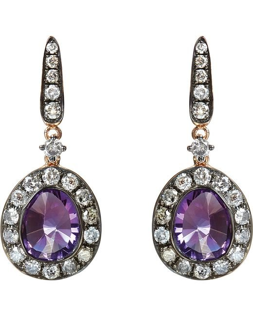 Annoushka | Purple 18ct Rose Gold Amethyst And Grey Diamond Earrings | Lyst