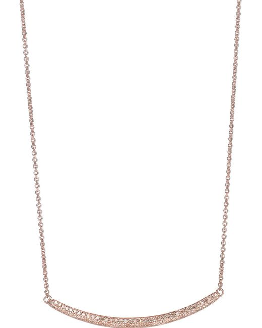 Monica Vinader - Metallic Skinny Curve 18ct Rose Gold-plated Diamond Necklace - Lyst