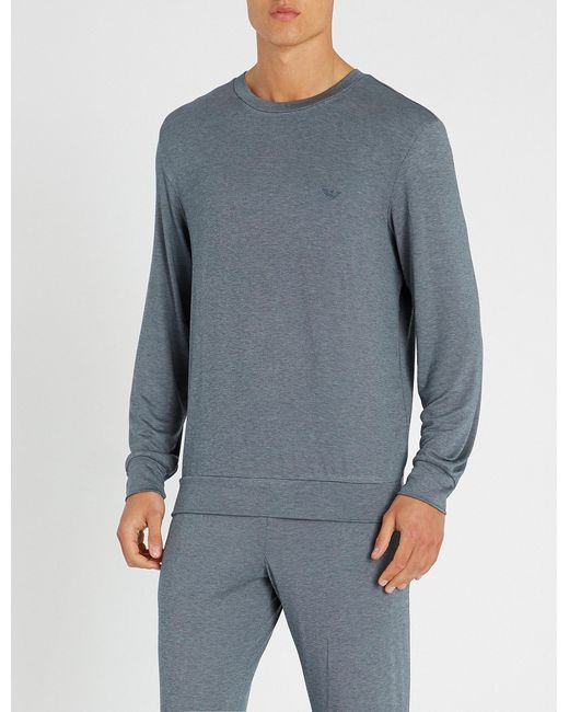 Emporio Armani - Blue Dot-patterned Modal-blend Sweatshirt for Men - Lyst