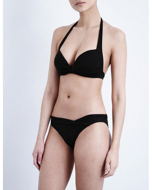 Jets by Jessika Allen - Black Twist-front Halterneck Bikini Top - Lyst