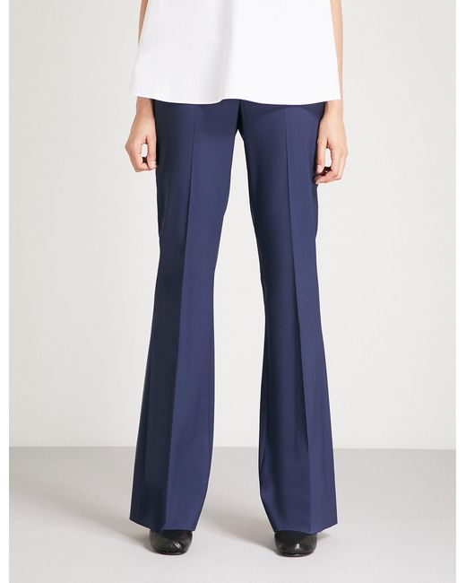 Theory - Blue Demitria High-rise Flared Stretch-wool Trousers - Lyst