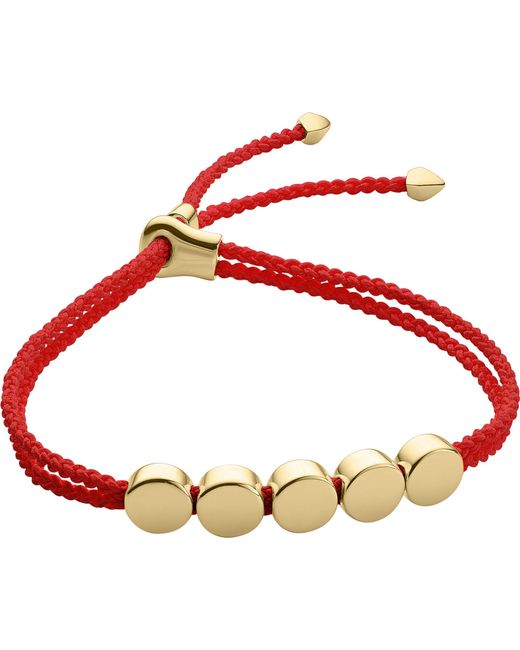Monica Vinader - Red Linear Bead 18ct Gold-plated Friendship Bracelet - Lyst