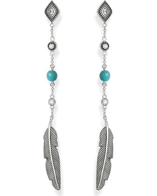 Thomas Sabo | Black Dreamcatcher Sterling Silver Earrings | Lyst