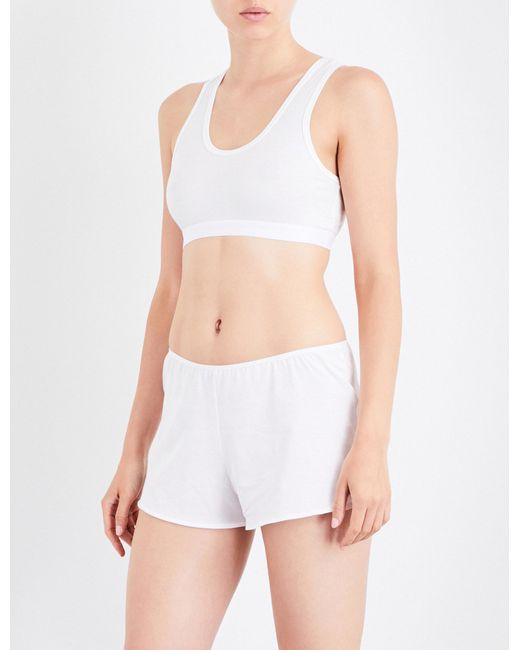 Sunspel   Ladies White Cropped Classic Racerback Stretch-cotton Top   Lyst