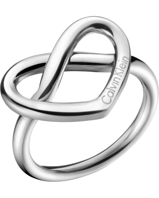 CALVIN KLEIN 205W39NYC - Metallic Charming Stainless Steel Knotted Heart Ring - Lyst