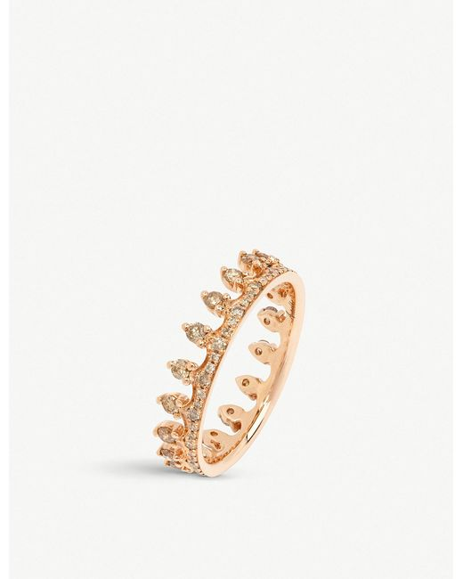 Annoushka - Metallic Crown 18ct Rose Gold And Brown Diamond Crown Ring - Lyst