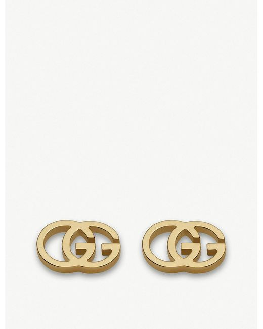 Gucci - GG 18ct Yellow-gold Tissue Stud Earrings - Lyst