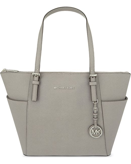 MICHAEL Michael Kors | White Jet Set Saffiano Leather Trapeze Tote | Lyst