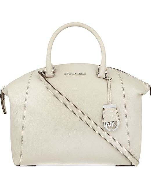 MICHAEL Michael Kors | White Riley Large Leather Satchel | Lyst
