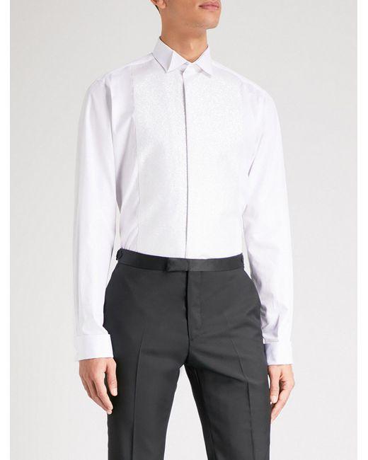 Smyth & Gibson | White Tailored-fit Glitter-panelled Cotton Shirt for Men |