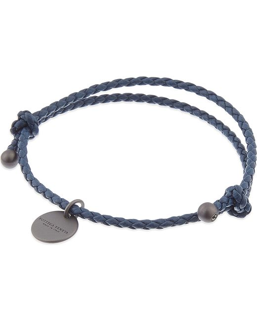 Bottega Veneta | Blue Intrecciato Nappa Leather Bracelet | Lyst