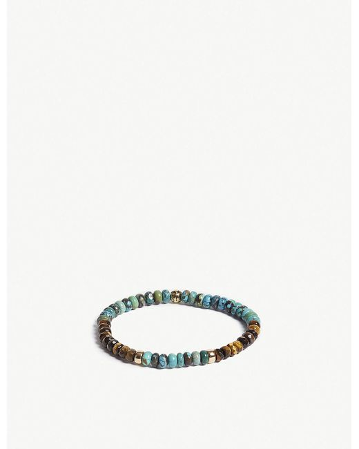 Nialaya - Multicolor Tiger Eye And Turquoise Bead Bracelet for Men - Lyst