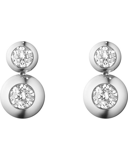 Georg Jensen | Aurora 18ct White Gold And Diamond Drop Earrings | Lyst