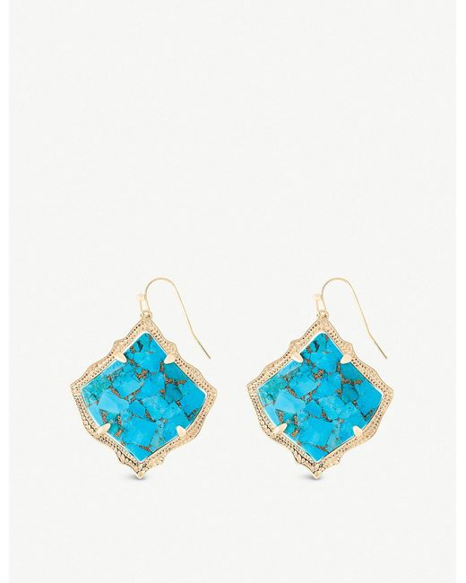 Kendra Scott - Blue Kirsten 14ct Gold-plated And Bronze Veined Turquoise Magnesite Stone Drop Earrings - Lyst