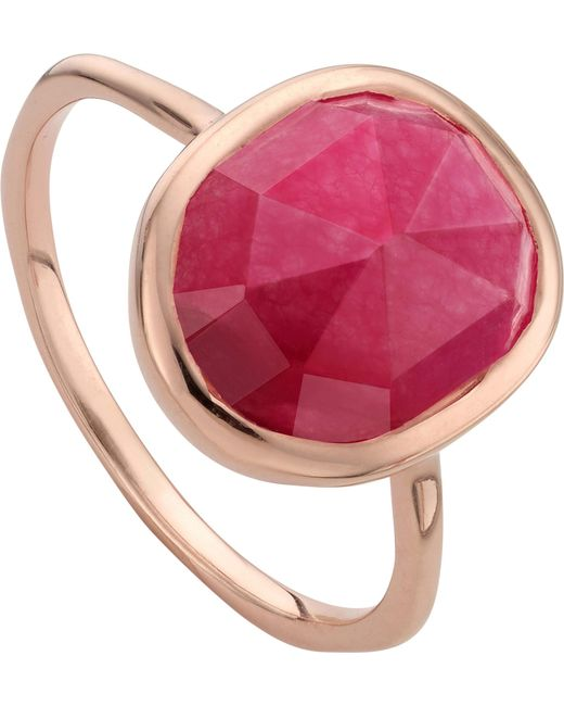 Monica Vinader - Metallic Siren 18ct Rose Gold Vermeil And Pink Quartz Stacking Ring - Lyst