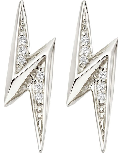 Astley Clarke | Metallic Lightning Bolt Sterling Silver And White Sapphire Stud Earrings | Lyst