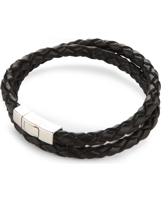 Tateossian - Black Double-wrap Scoubidou Leather And Sterling Silver Bracelet for Men - Lyst