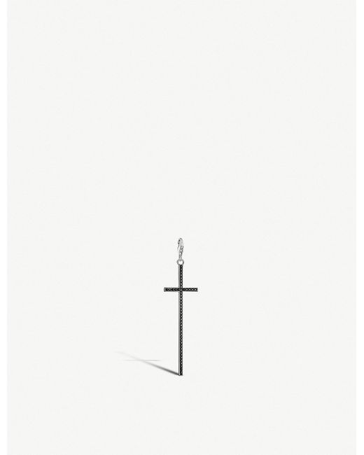 Thomas Sabo - Metallic Charm Club Cross Sterling Silver And Black Zirconia Charm for Men - Lyst